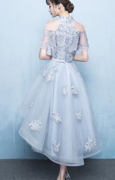 Chic Grey Lace and Tulle Off Shoulder High Low Formal Dress, Grey Prom Dress