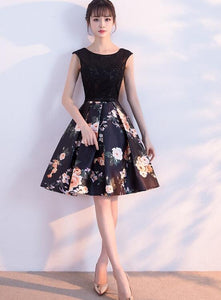Cute Short Satin Floral Homecoming Dress with Lace, Black Short Party Dress