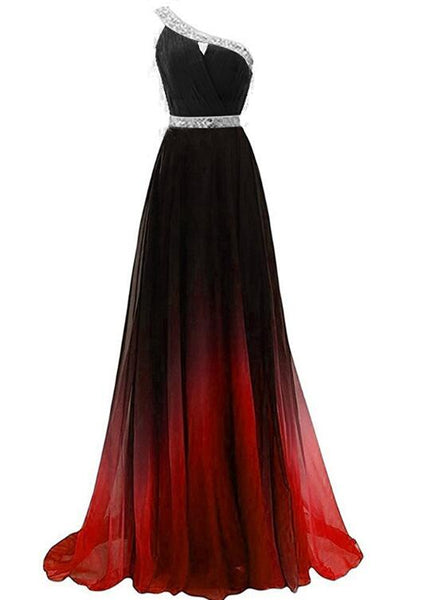 Beautiful Red and Black Long Party Dress, Gradient One Shoulder Prom Dress