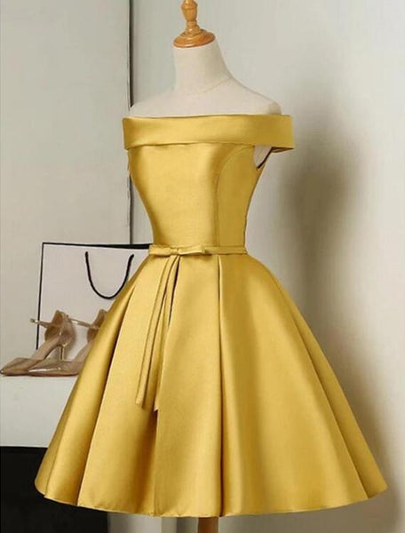 Cute Gold Satin Homecoming Dress A-Line, Short Prom Dress 2019