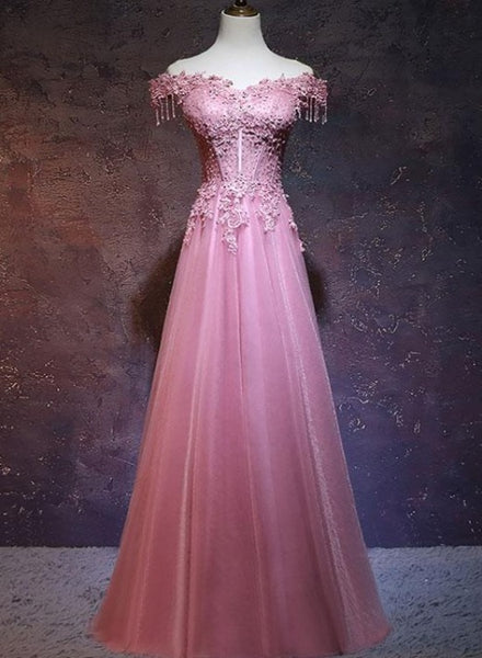 Pink Sweetheart Off Shoulder Lace Applique Long Prom Dress, Pink Bridesmaid Dress