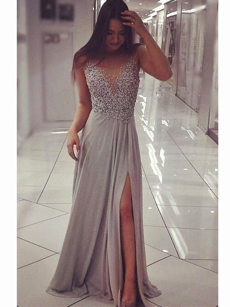 Grey Chiffon Beaded Slit Chic Long Party Dress, Grey Floor Length Evening Gown