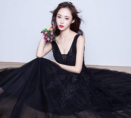 Black Tulle V-neckline Lace Applique Party Dress, Prom Gown 2019