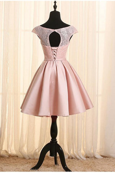 Lovely Pink Homecoming Dresses, Cap Sleeves Short Prom Dress 2020