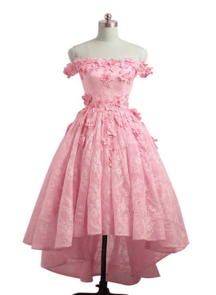 Lovely Lace Off Shoulder Pink Homecoming Dress, High Low Formal Dress