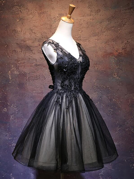 Adorable Black V-neckline Lace and Tulle Party Dress, Short Prom Dress