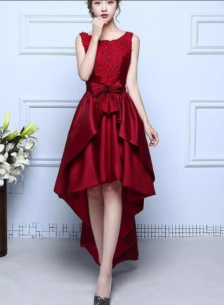 red high low formal dress