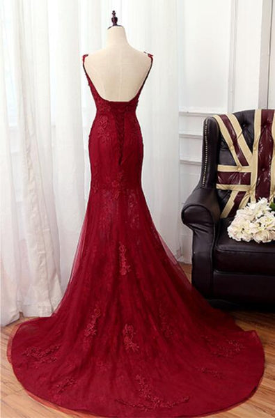 Elegant Mermaid Tulle with Lace Applique Long Party Dress, Evening Formal Dress