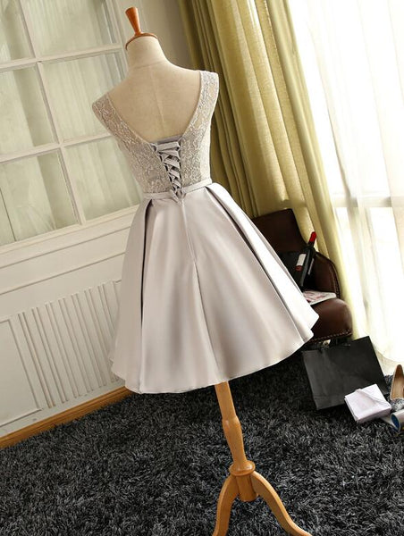 Simple Lace and Satin Knee Length Round Neckline Party Dress, Short Prom Dress