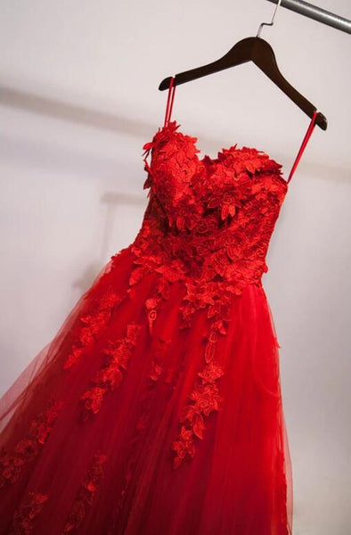 Charming Red Prom Dresses Sweetheart Ball Gown Lace Prom Dress, Sweet 16 Dresses