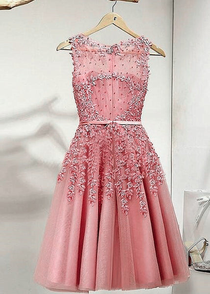Pink Short Knee Length Tulle Party Dress with Applique, Short Prom Dress