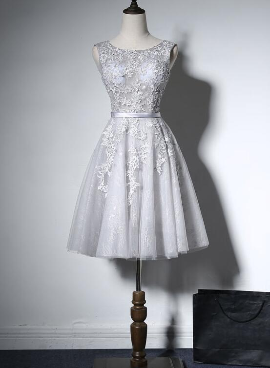 grey lace tulle short prom dress