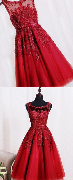 Beautiful Red Homecoming Dress, Red Tea Length Tulle Party Dress 2020