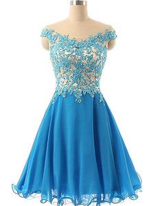 Beautiful Blue Short Chiffon with Lace Applique Homecoming Dress, Blue Party Dress
