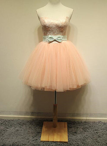 pink short tulle homecoming dress