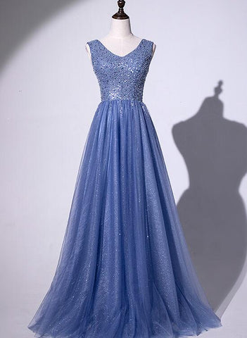 Beautiful Long Tulle Sequins Evening Gown, V-neckline Floor Length Party Dress