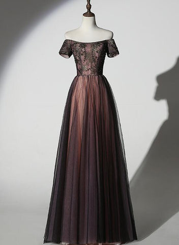 Unique Black and Champagne Tulle Long Party Dress, Senior Prom Dress 2020