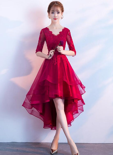 wine red high low prom dress