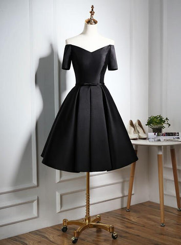 Lovely Black Satin Short Prom Dress, Black Party Dress 2020