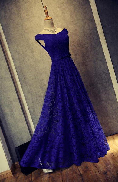 Beautiful Royal Blue Lace A-line Prom Dress, Long Bridesmaid Dresses