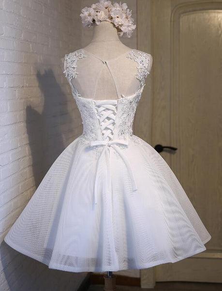 Cute White Short Round Neckline Party Dress 2020, Homecoming Dress