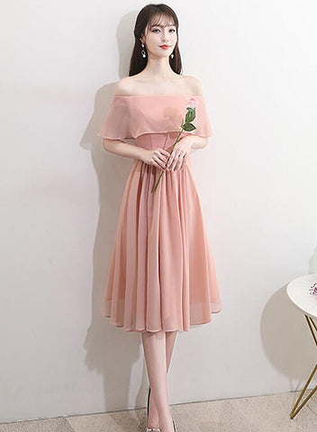 Lovely Pink Chiffon Off Shoulder Bridesmaid Dress, Short Party Dress