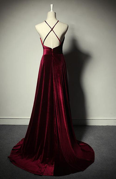Beautiful Halter Wine Red Velvet Cross Back Party Dress, Prom Dress 2020
