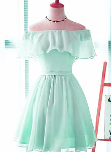 mint green off shoulder party dress