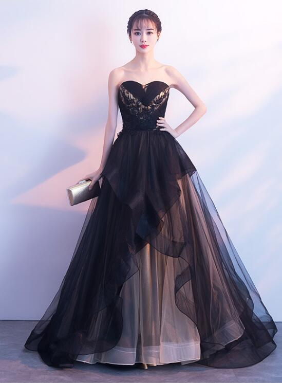 black tulle sweetheart party dress
