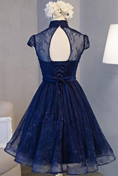 Beautiful Navy Blue Knee Length Lace Party Dress, Homecoming Dress