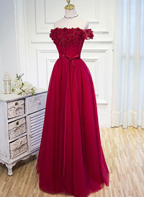 wine red tulle party dress
