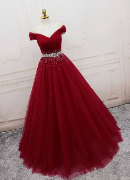 Beautiful Handmade A-line Prom Dress 2020, Off Shoulder Wine Red Party Dress
