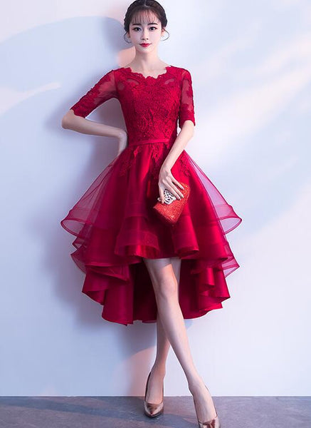 Elegant High Low Wine Red Shor Sleeves Party Dress 2020
