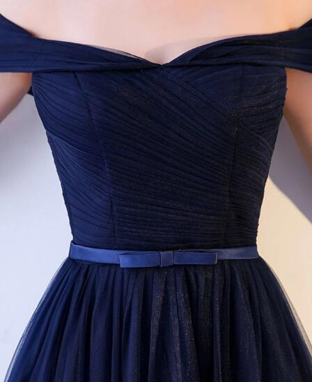 Charming Navy Blue Tulle A-line Prom Dress 2020, Off Shoulder Bridesmaid Dress