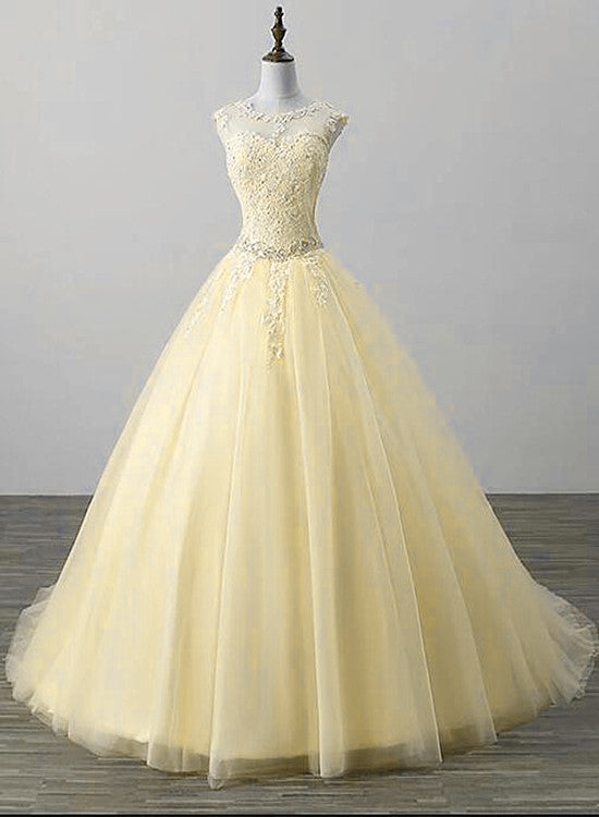 light yellow tulle party dress 2020