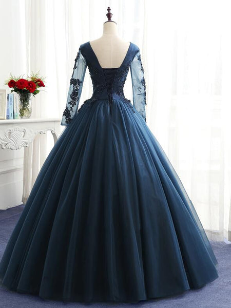 Charming Long Sleeves Navy Blue Tulle Party Gown, Navy Blue Prom Dress