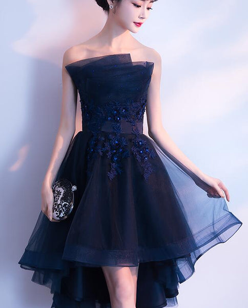 Charming Navy Blue High Low Party Dress, Lace Applique New Style Prom Dress