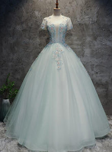 Gorgeous Mint Green Tulle Cap Sleeves Floral Sweet 16 Dress, Charming Prom Dress