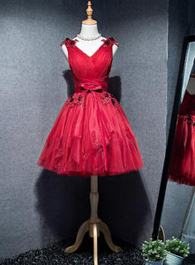 red short tulle party dress