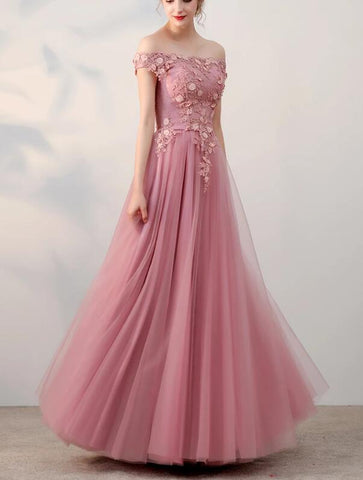 pink off shoulder prom dress