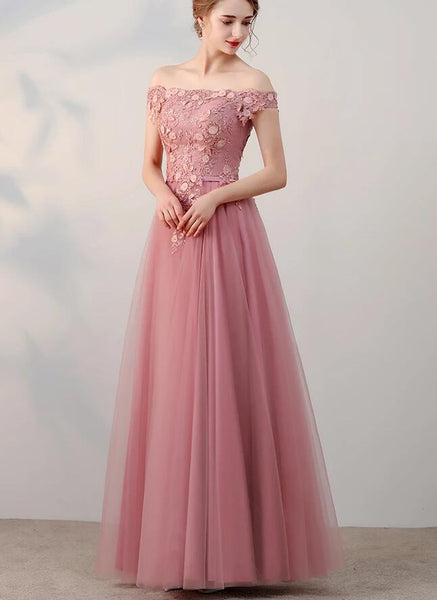 Pink Off Shoulder Tulle Long Party Dress, Pink Bridesmaid Dress