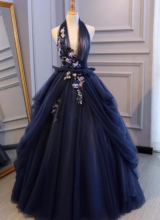 navy blue long party dress