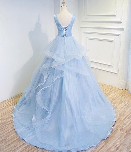 Beautiful Blue Prom Dresses V-neck Ball Gown Sweep Train Party Dress, Sweet 16 Gown
