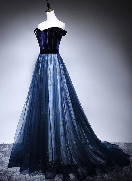 Beautiful Navy Blue Off Shoulder Long Party Dress, Long Prom Dress