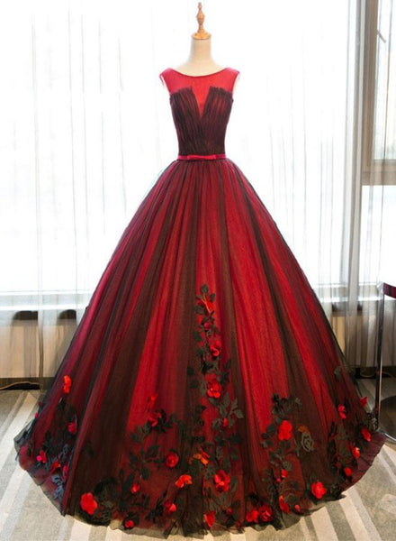 Unique Red and Black Tulle Ball Gown Flowers Sweet 16 Dress, Red Formal Gown
