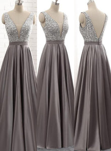 Beautiful Satin Grey Beaded Long Prom Dresses, Bridesmaid Dress
