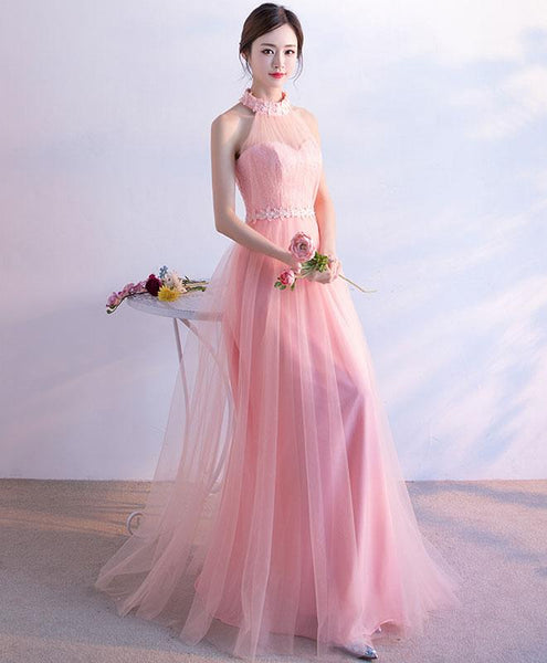 Pink Tulle A-line Lace-up Party Dress 2019, Lovely Formal Dress