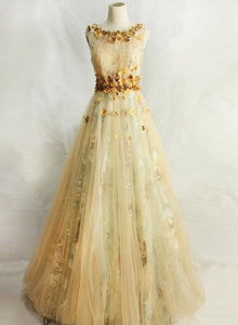 Elegant Champagne Tulle Long Round Neckline Party Dress, Floral Party Dress