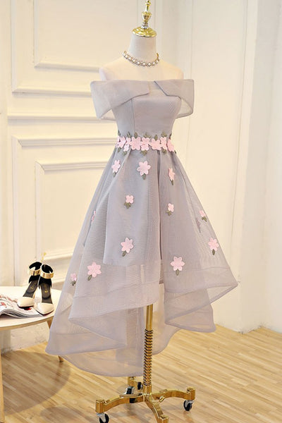 Light Grey Tulle with Flowers High Low Fashionable Party Dress, New Style Grey Homecoming Dresses 2019