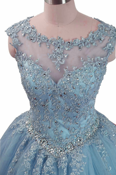 Charming Blue Tulle Long Ball Gown Sweet 16 Dress with Lace, Formal Gown